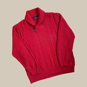 Nautica Red Heavy Shawl Cable Knit Sweater